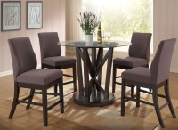 Natasha Cappuccino Round Glass Counter Height Dining Room ...