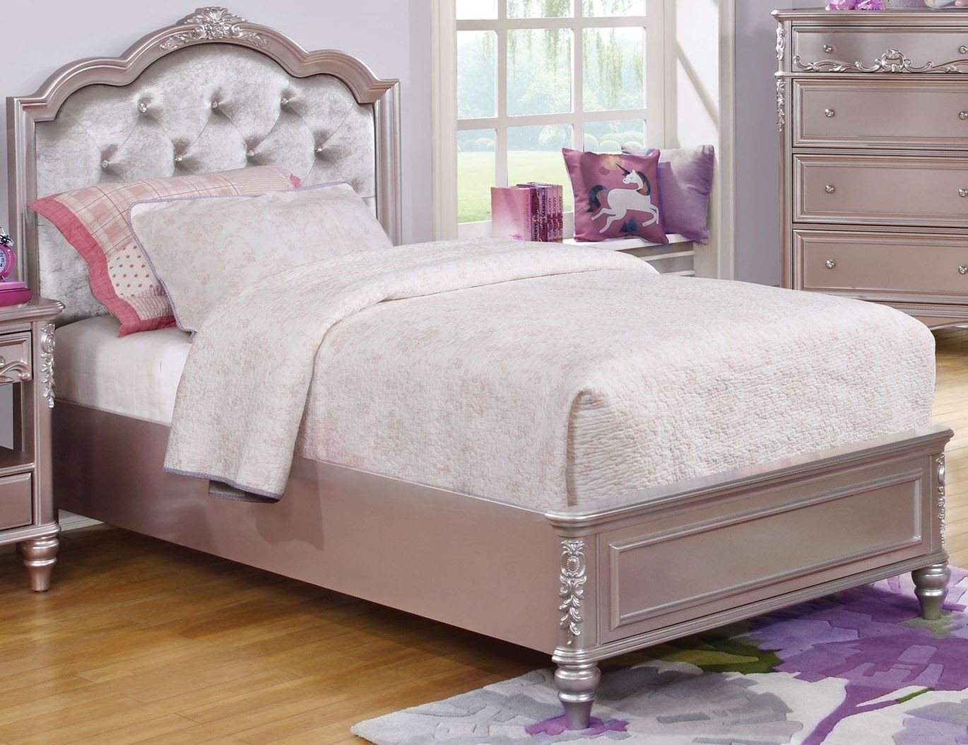 Caroline Metallic Lilac Youth Platform Bedroom Set from