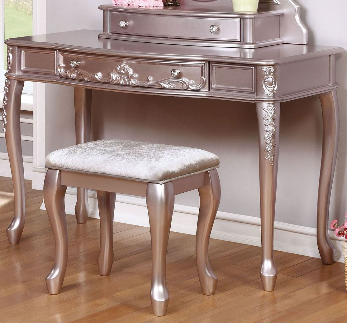 lilac office chair black windsor chairs caroline metallic vanity desk from coaster coleman