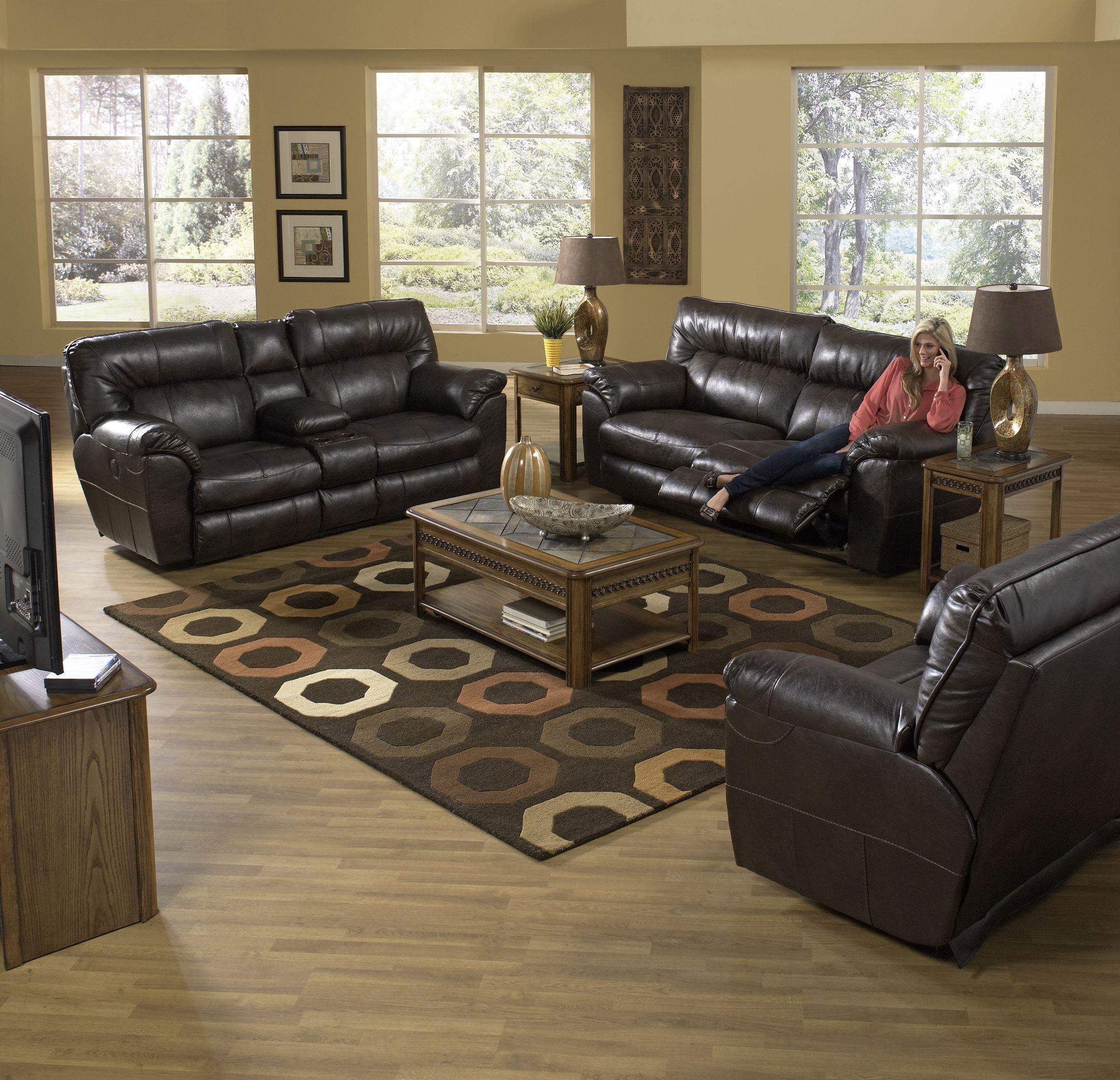 catnapper reclining sofa nolan next brown leather corner godiva power from