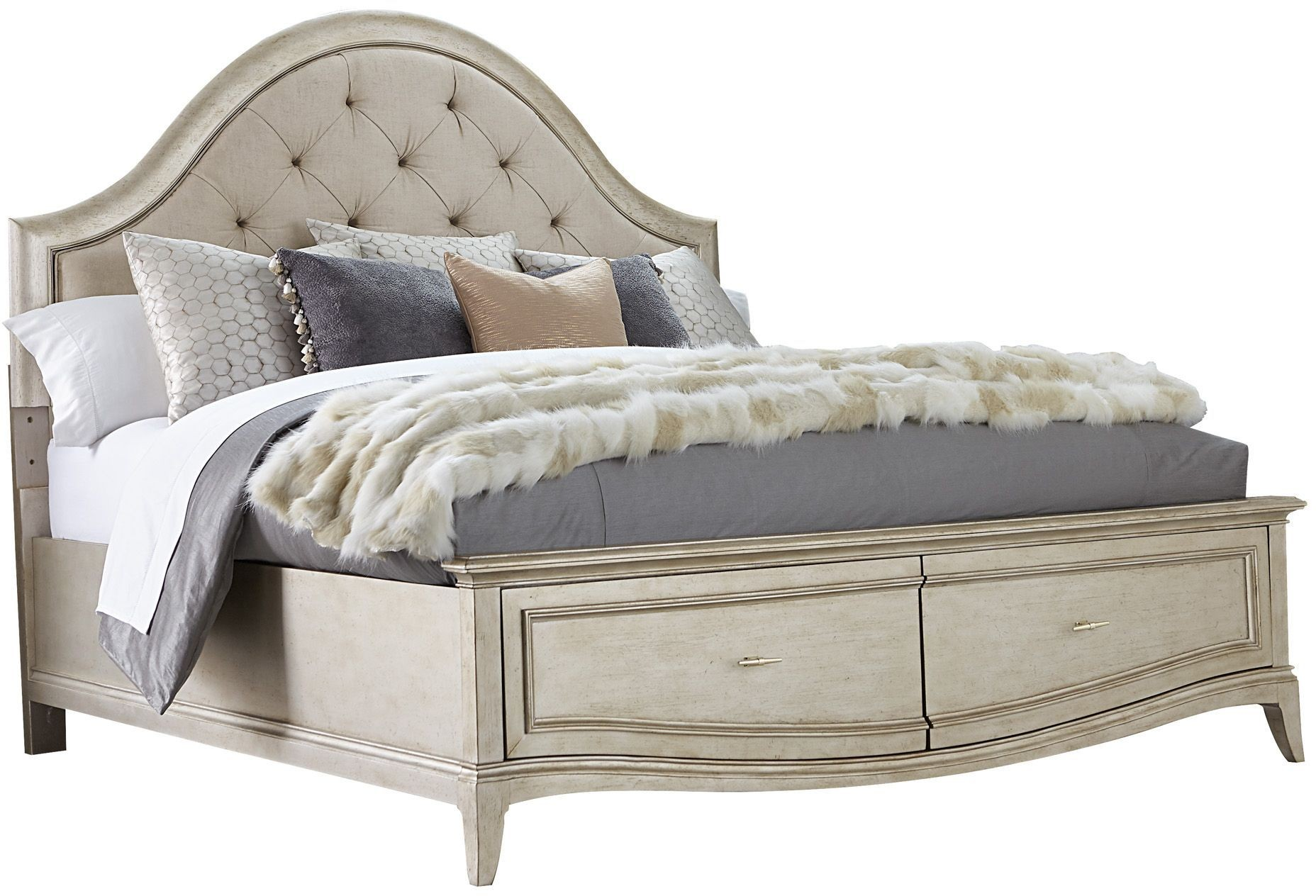 Starlite Silver King Upholstered Storage Panel Bed From
