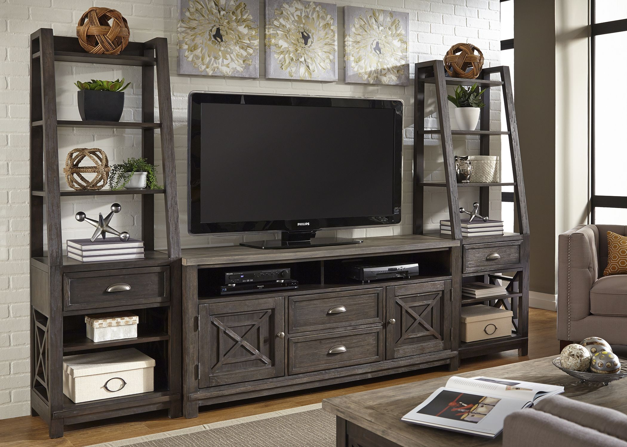 Heatherbrook Charcoal And Ash Entertainment Wall Unit From