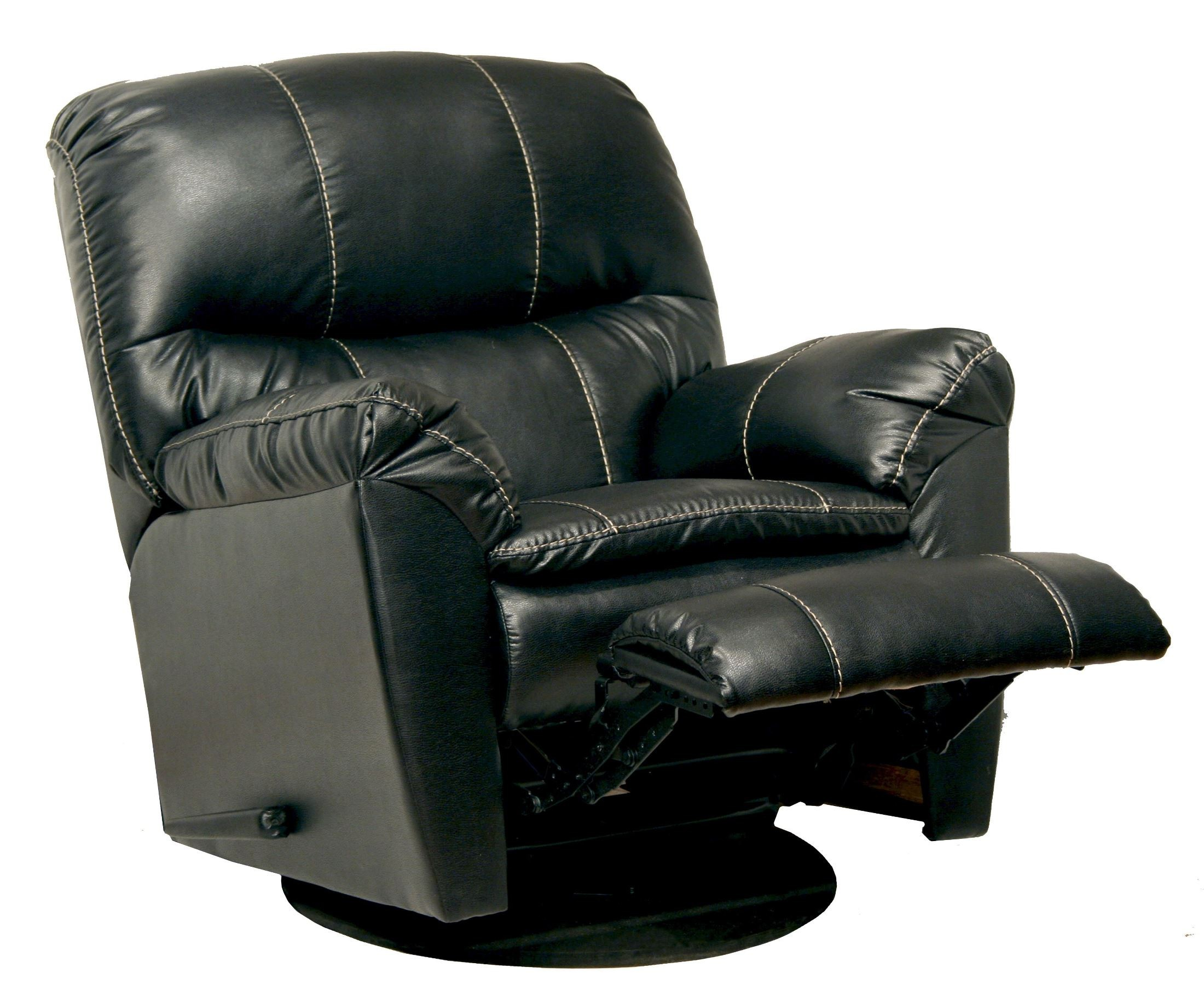 leather swivel chair recliner stand up cosmo black glider from catnapper