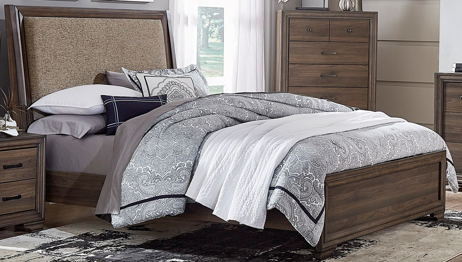 Clarksdale Walnut King Upholstered Panel Bed From Liberty