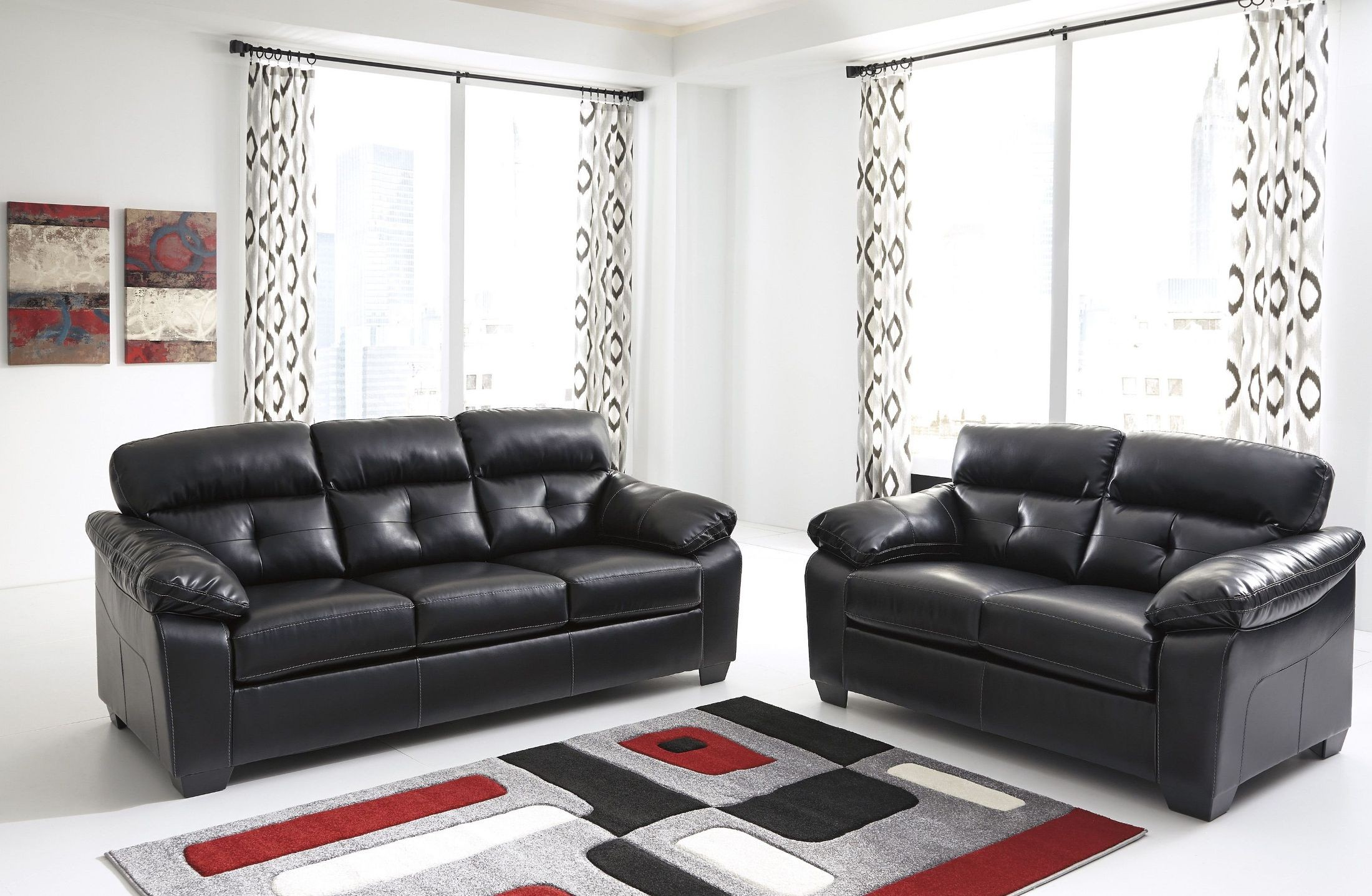 ashley furniture durablend sleeper sofa with chaise lounge cheap bastrop midnight living room set from ...