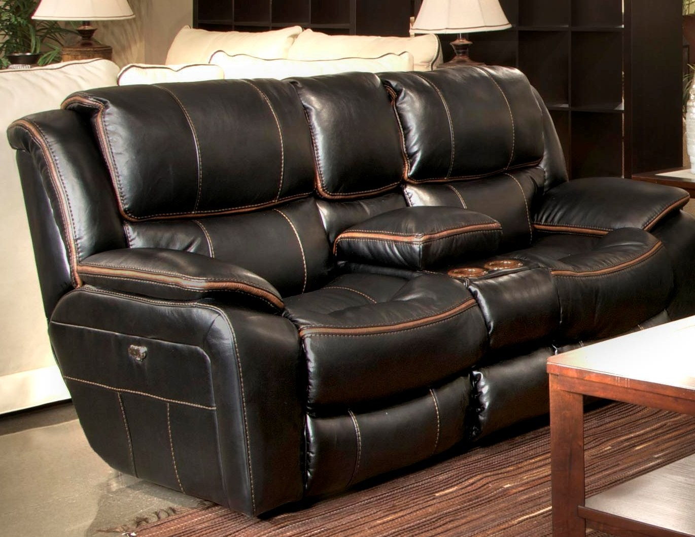 black reclining sofa with console wholesale leather beckett loveseat 45199115208