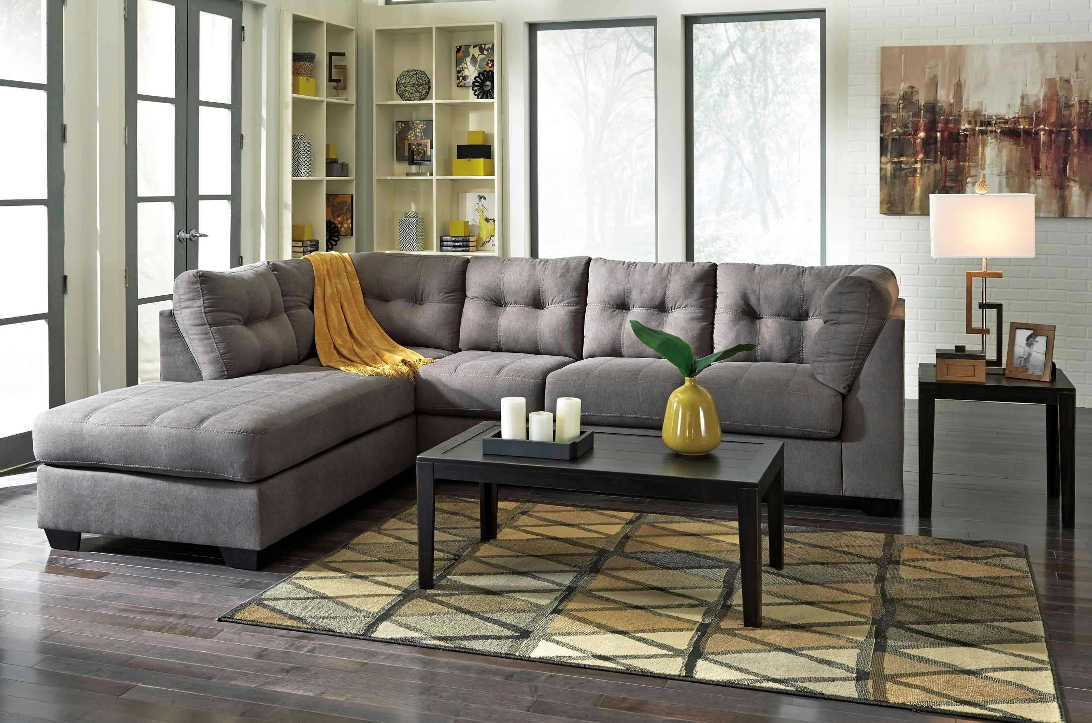 ashley furniture modern sofa cushions covers maier charcoal laf sectional from (45200-16-67 ...