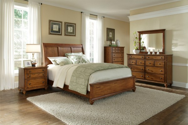 oak sleigh bedroom sets Hayden Place Oak Sleigh Bedroom Set, 4645-270-271-450, Broyhill Furniture