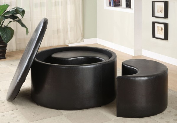 Round Ottoman Coffee Table with Storage