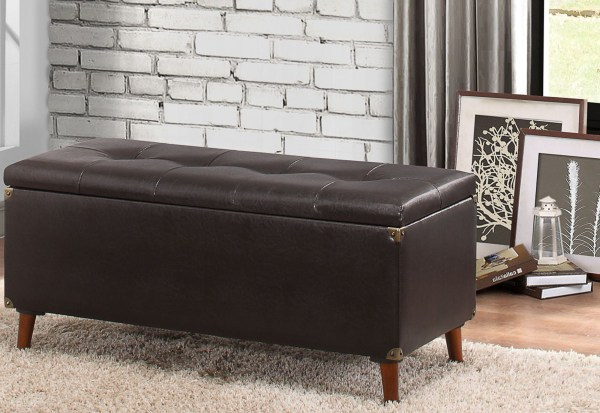 Staunton Brown Lift Top Storage Bench from Homelegance ...