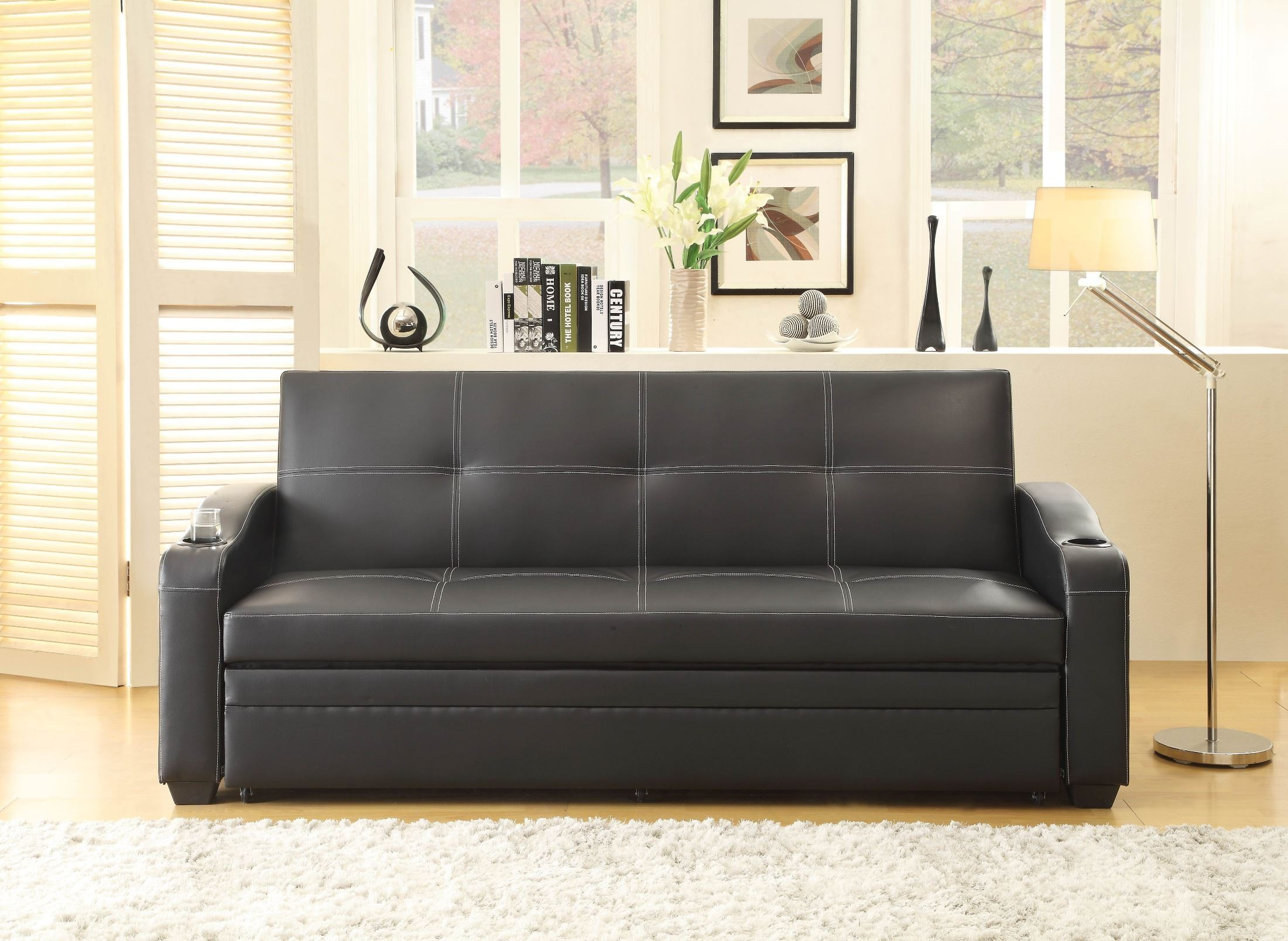 lounger sofa with pull out trundle denver leather dark taupe marcelo elegant up from