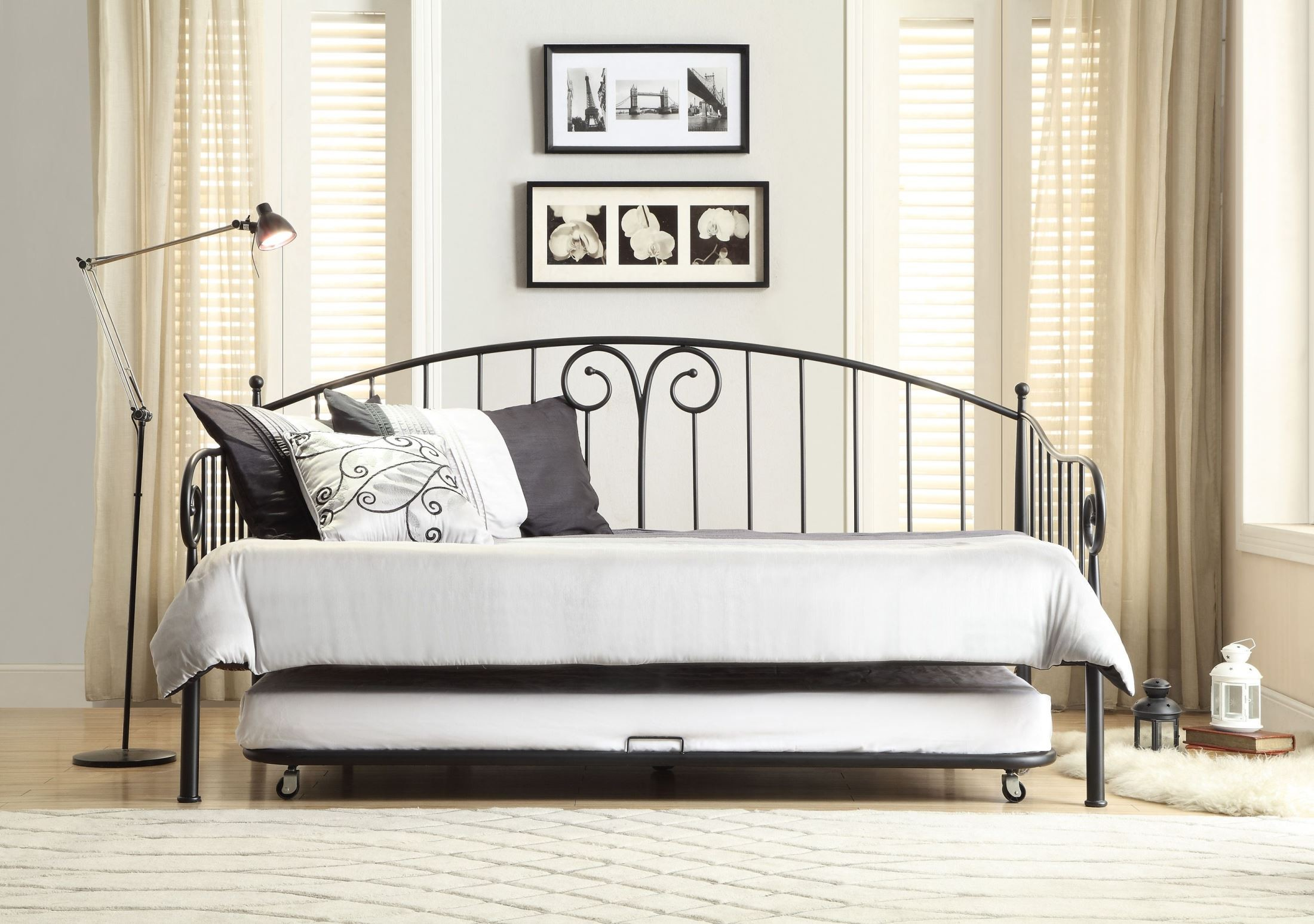 metal sofa bed parts wooden carving set ruby black daybed with trundle from homelegance