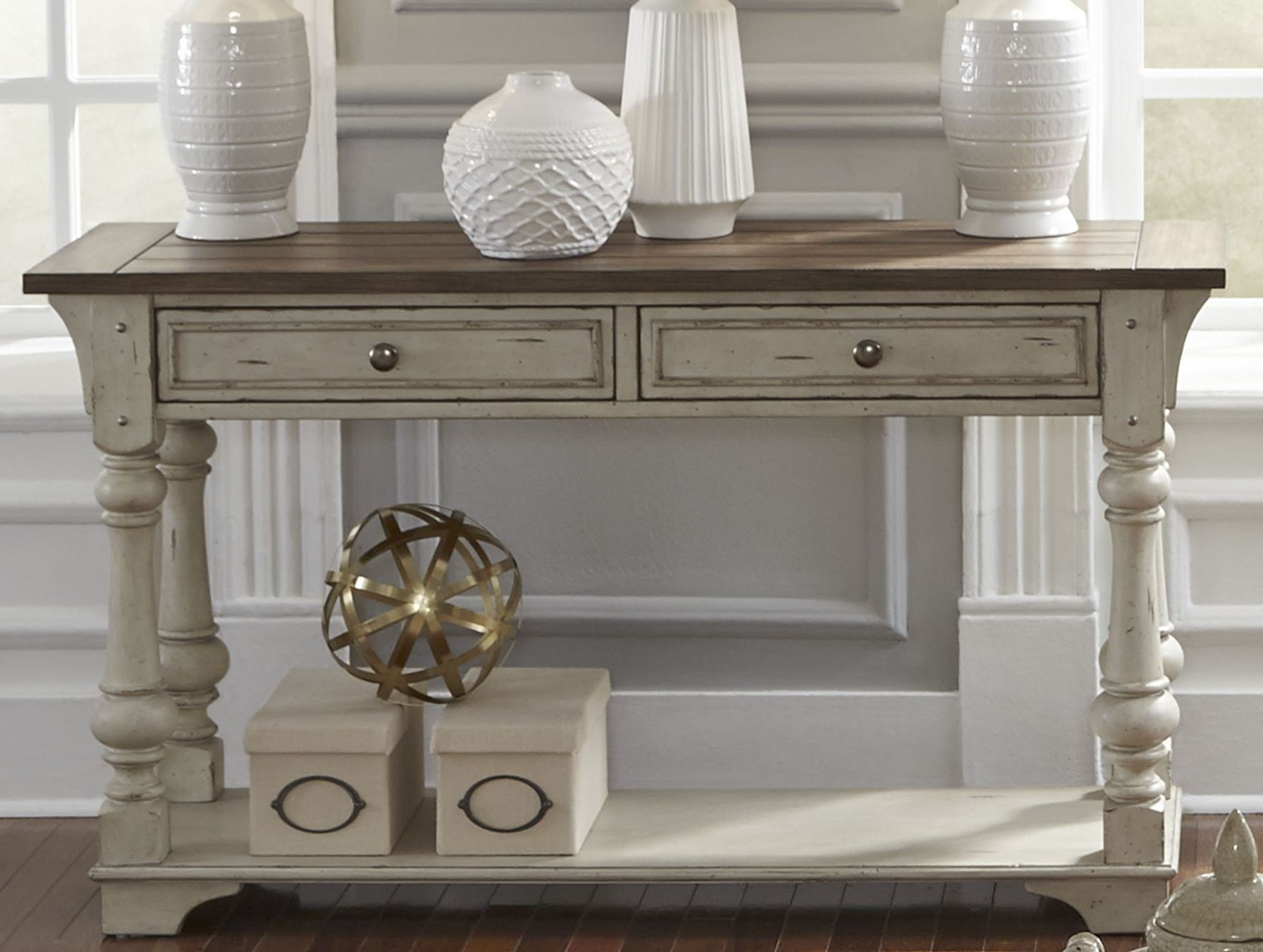 Morgan Creek Antique White Sofa Table from Liberty  Coleman Furniture