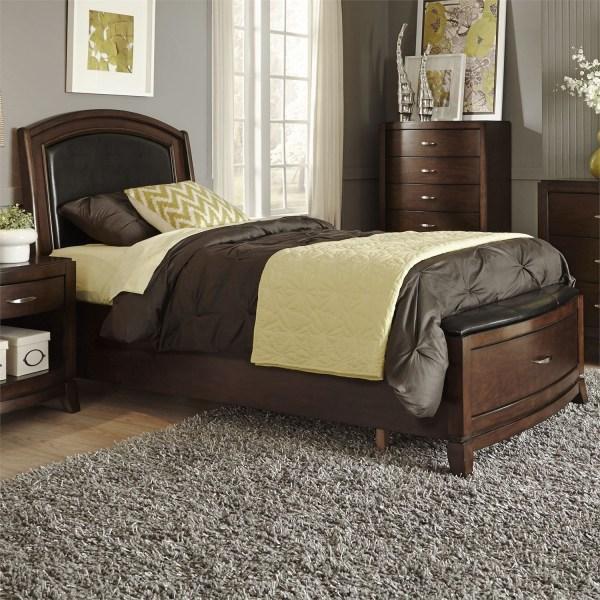 Avalon Truffle Twin Leather Storage Bed Liberty 505