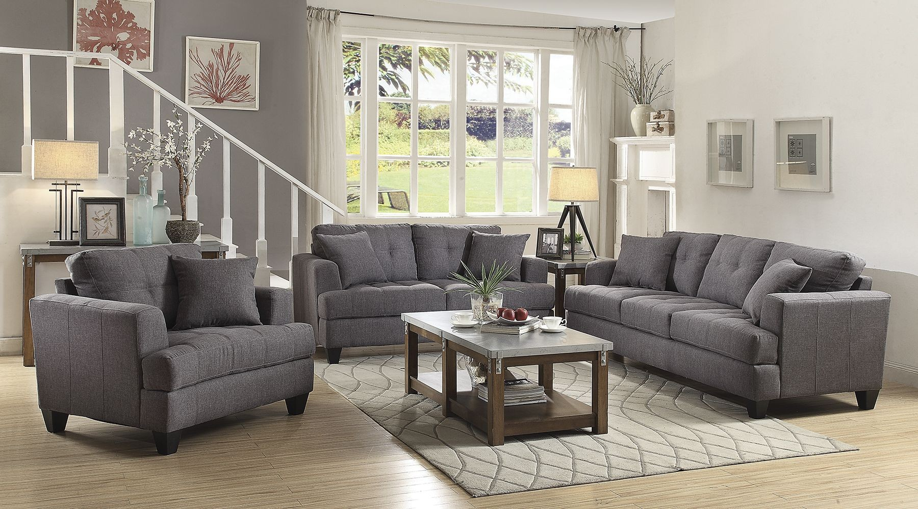 Grey Living Room Chairs Samuel Gray Living Room Set From Coaster Coleman Furniture