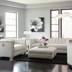 White Leather Chairs For Living Room Stainless Steel Outdoor Table And Chaviano Pearl Set From Coaster