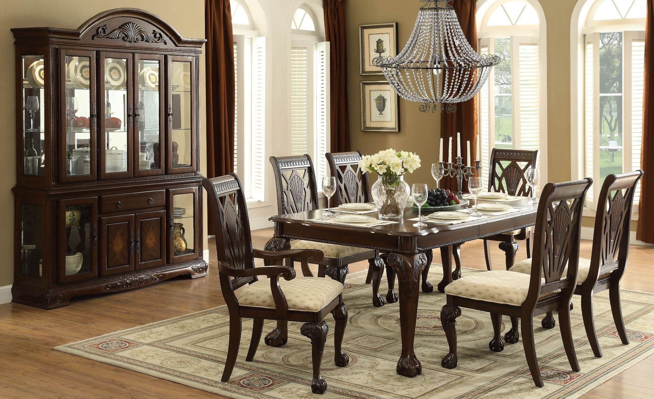 Norwich Warm Cherry Leg Dining Room Set from Homelegance 505582  Coleman Furniture