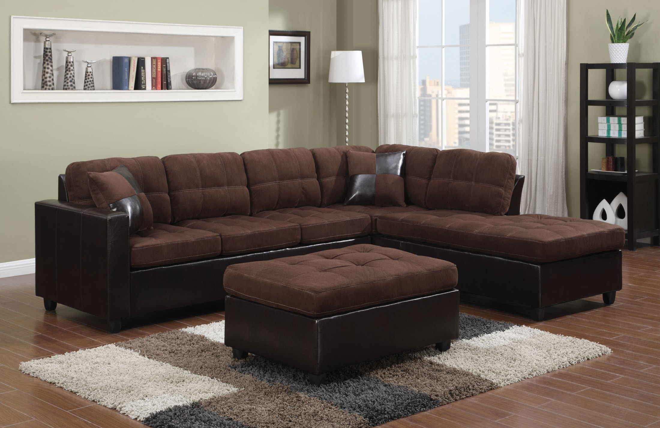 chocolate brown leather sectional sofa with 2 storage ottomans murphy bed toronto mallory from coaster 505655