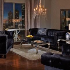 Black Velvet Sofa Living Room Cushions For Sofas Walmart Reventlow Set From Coaster Coleman