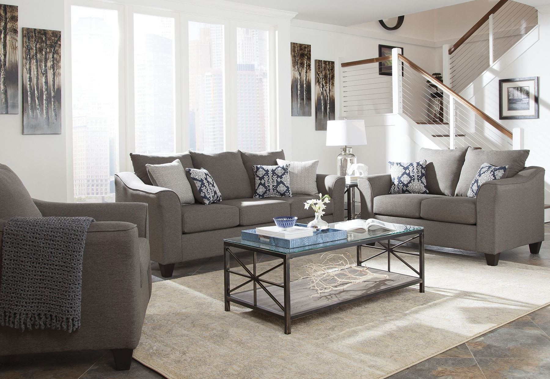 Grey Living Room Chairs Salizar Gray Living Room Set 506021 Coaster Furniture