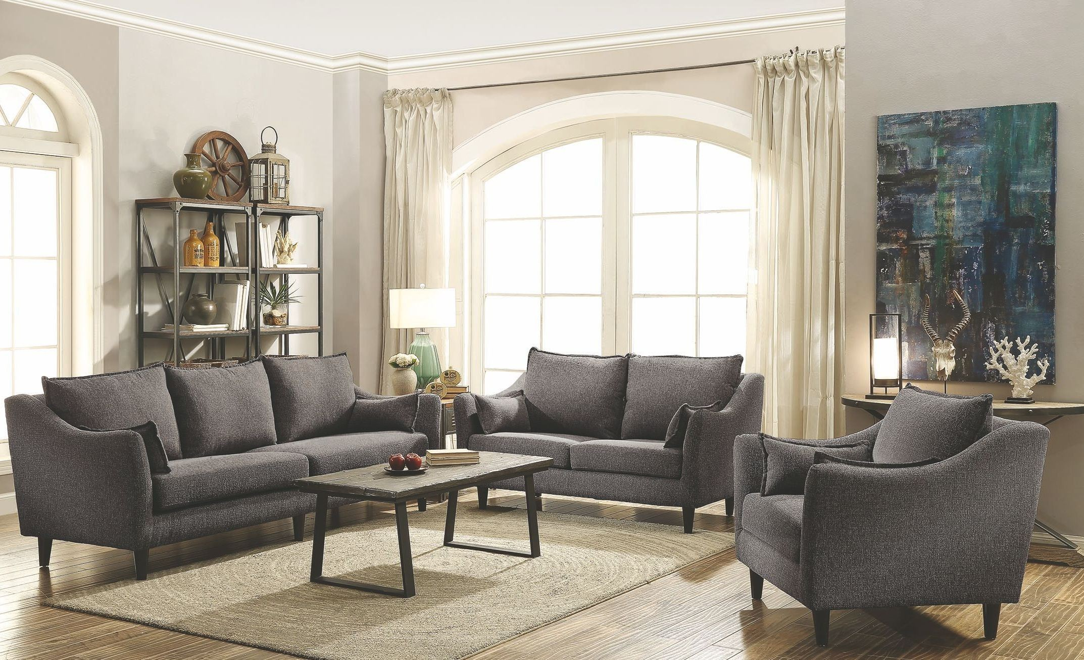Grey Living Room Chairs Rhys Dark Grey Living Room Set From Coaster Coleman