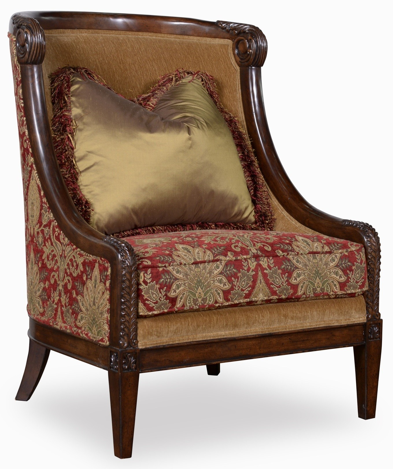 Wood Accent Chair Giovanna Caramel Carved Wood Accent Chair From Art 509534