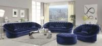 Romanus Royal Blue Velvet Living Room Set, 511042, Coaster ...