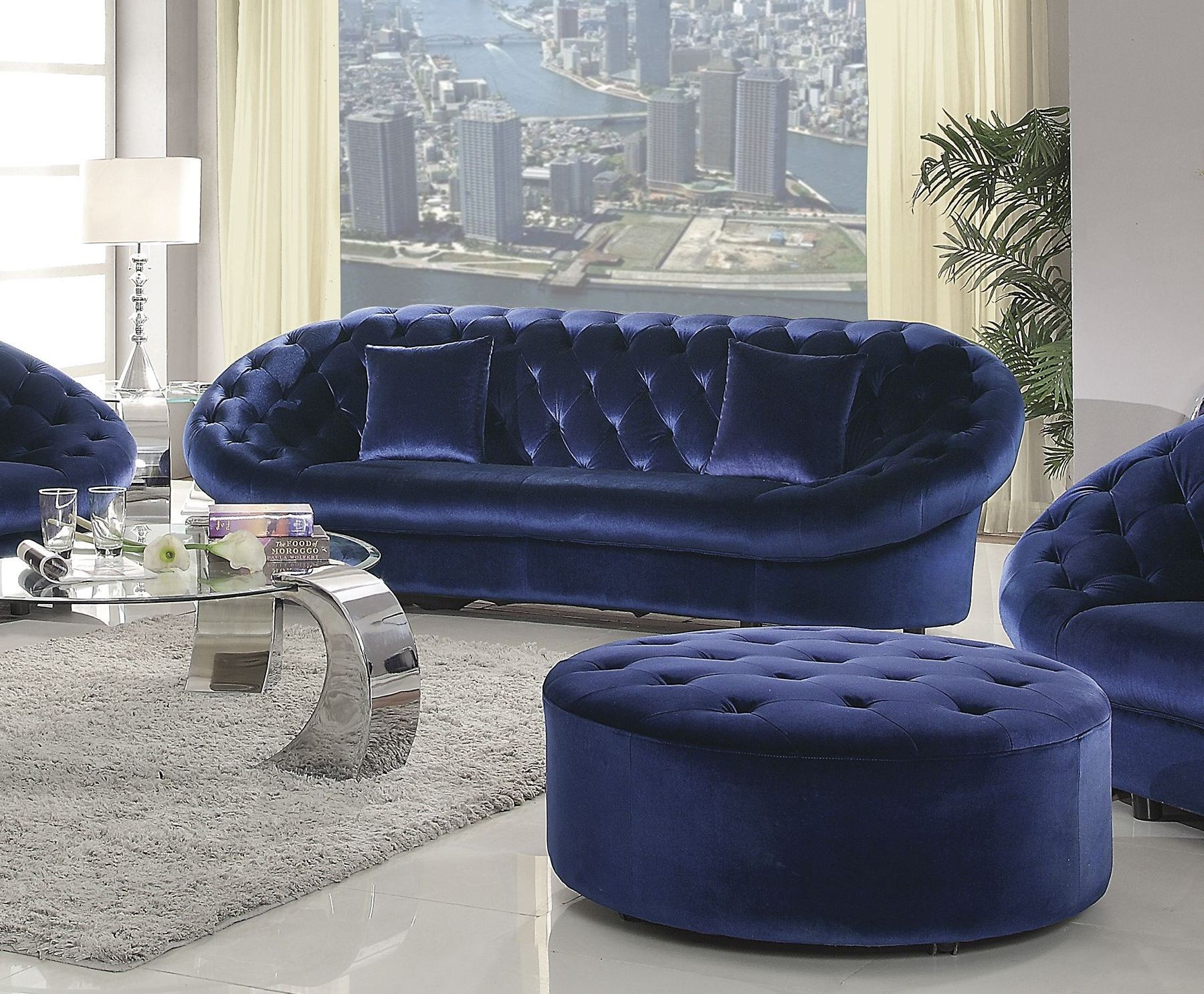 Blue Velvet Chair Romanus Royal Blue Velvet Sofa 511042 Coaster Furniture