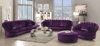 Romanus Purple Velvet Living Room Set, 511046, Coaster