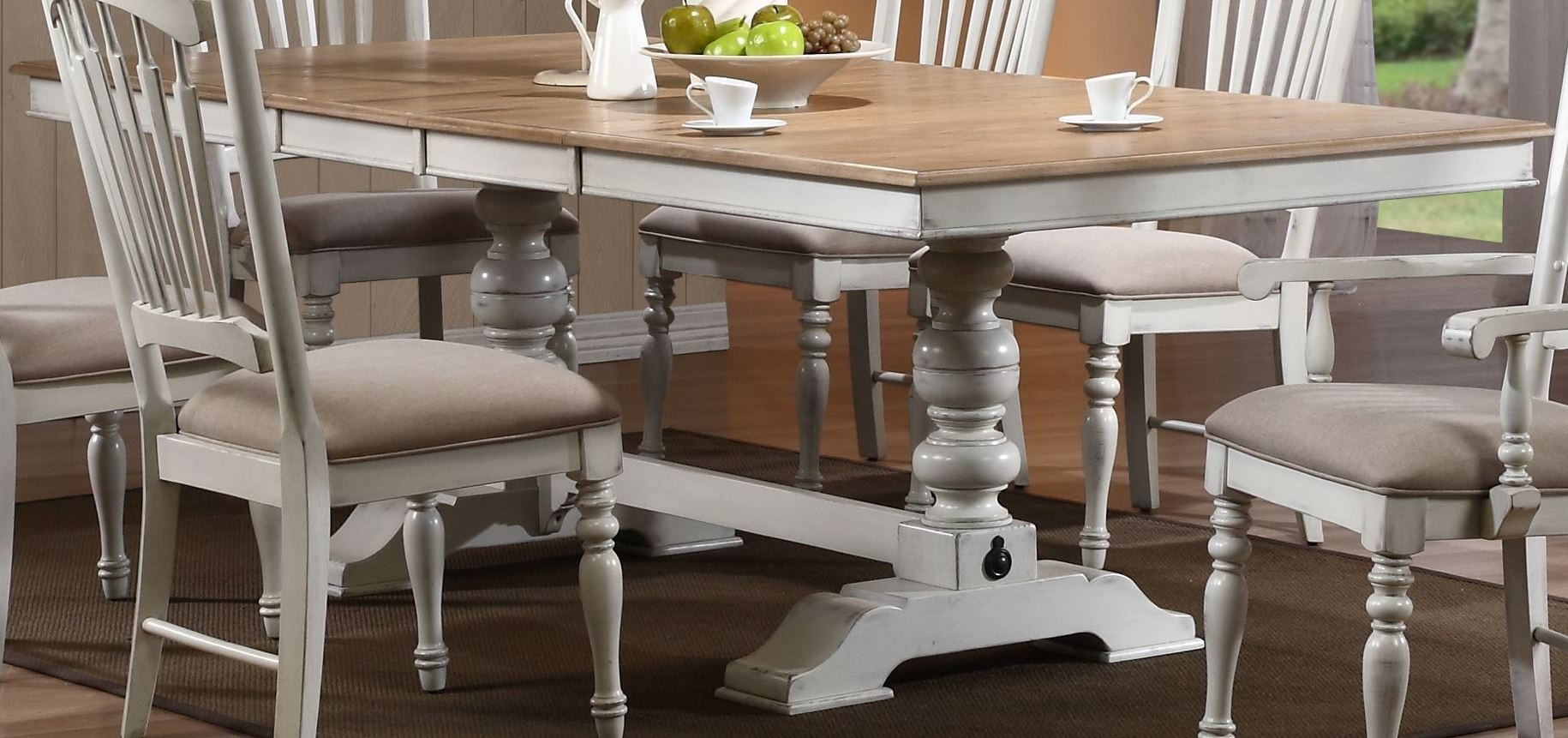 Hollyhock Distressed White Dining Table from Homelegance