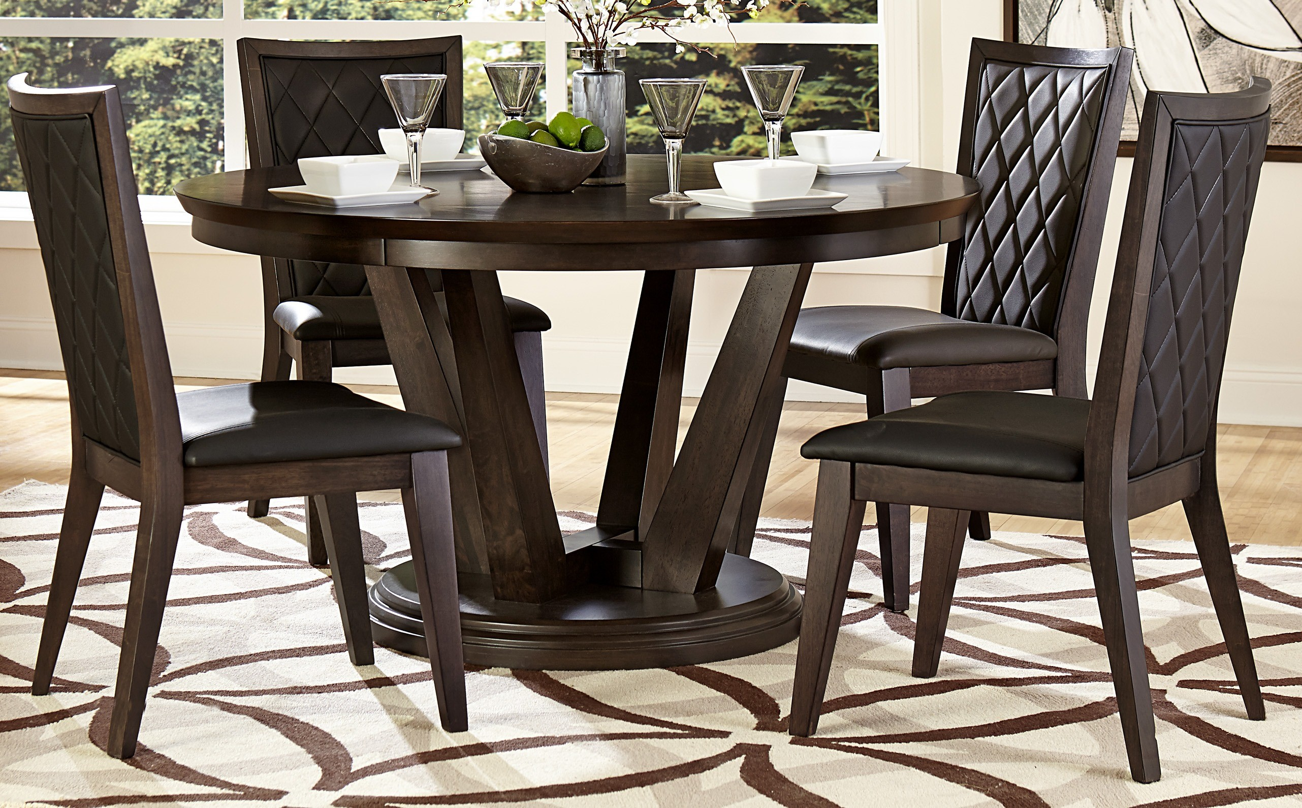 dark walnut dining chairs recliner camping chair villa vista round table from