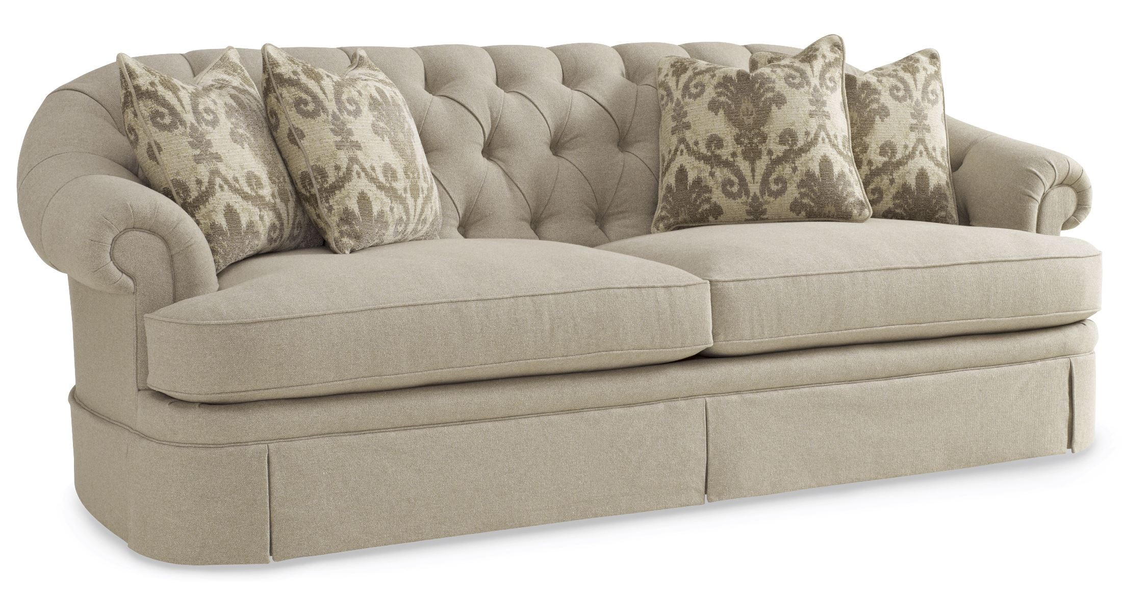 tufted sofa set the king meme collection one upholstered oxford skirted from