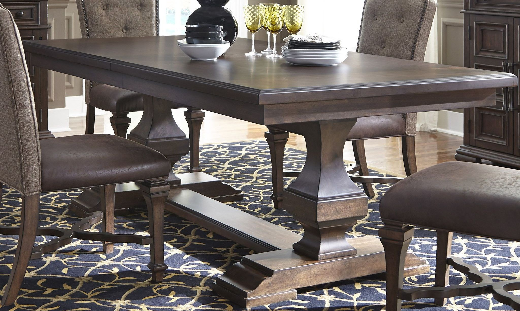 Lucca Brown Double Pedestal Dining Table From Liberty Coleman Furniture