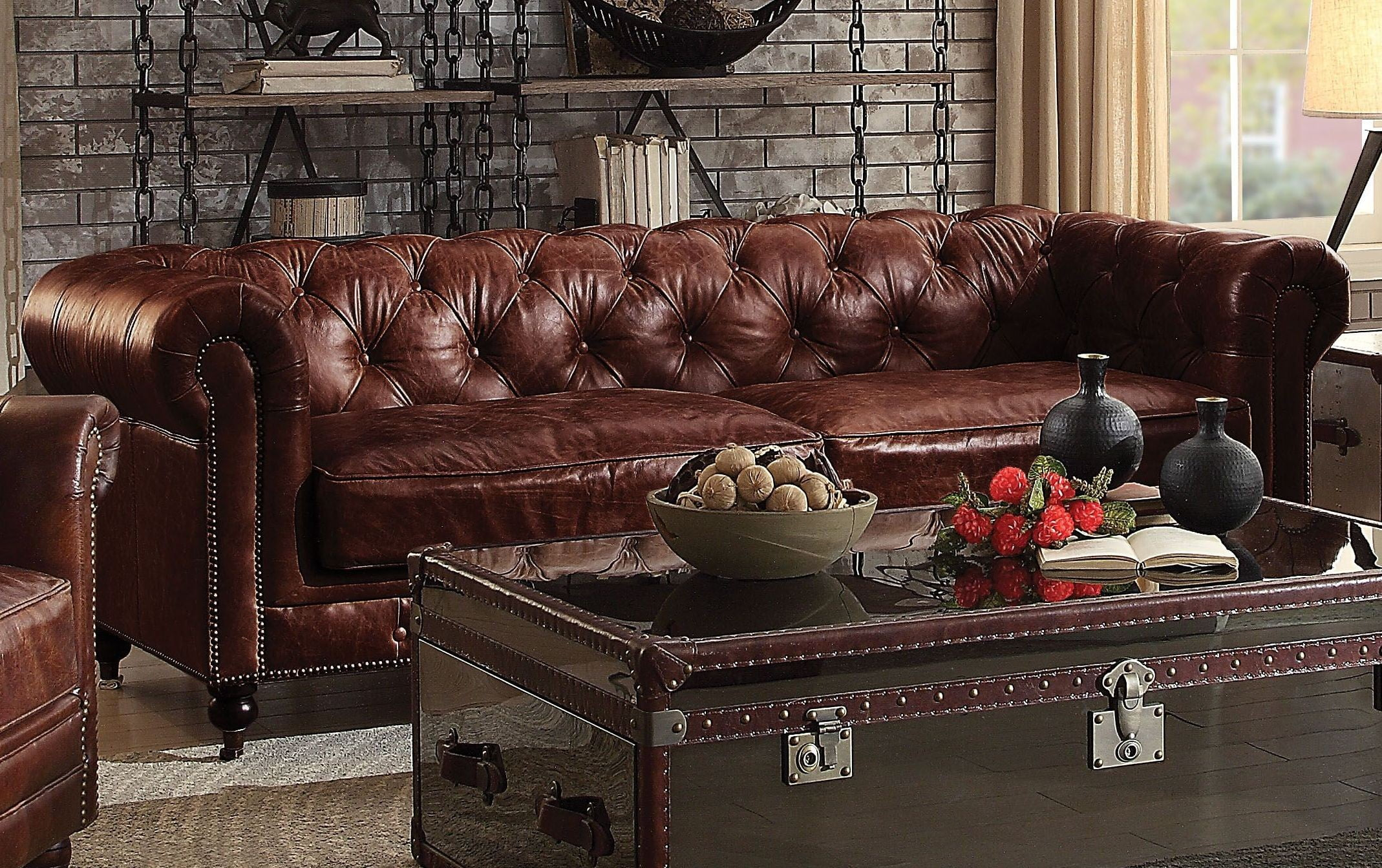 acme sectional sofa chocolate cheap deals online aberdeen vintage dark brown leather from