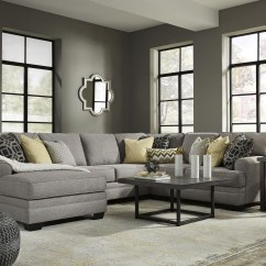 2 Pc Laf Sectional Sofa Contemporary White Set Cresson Pewter Chaise Sectional, 54907-sec2, Ashley