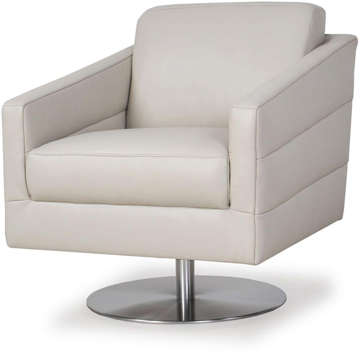 Eagle Pure Grey Grain Leather Swivel Chair 55106B1189 Moroni