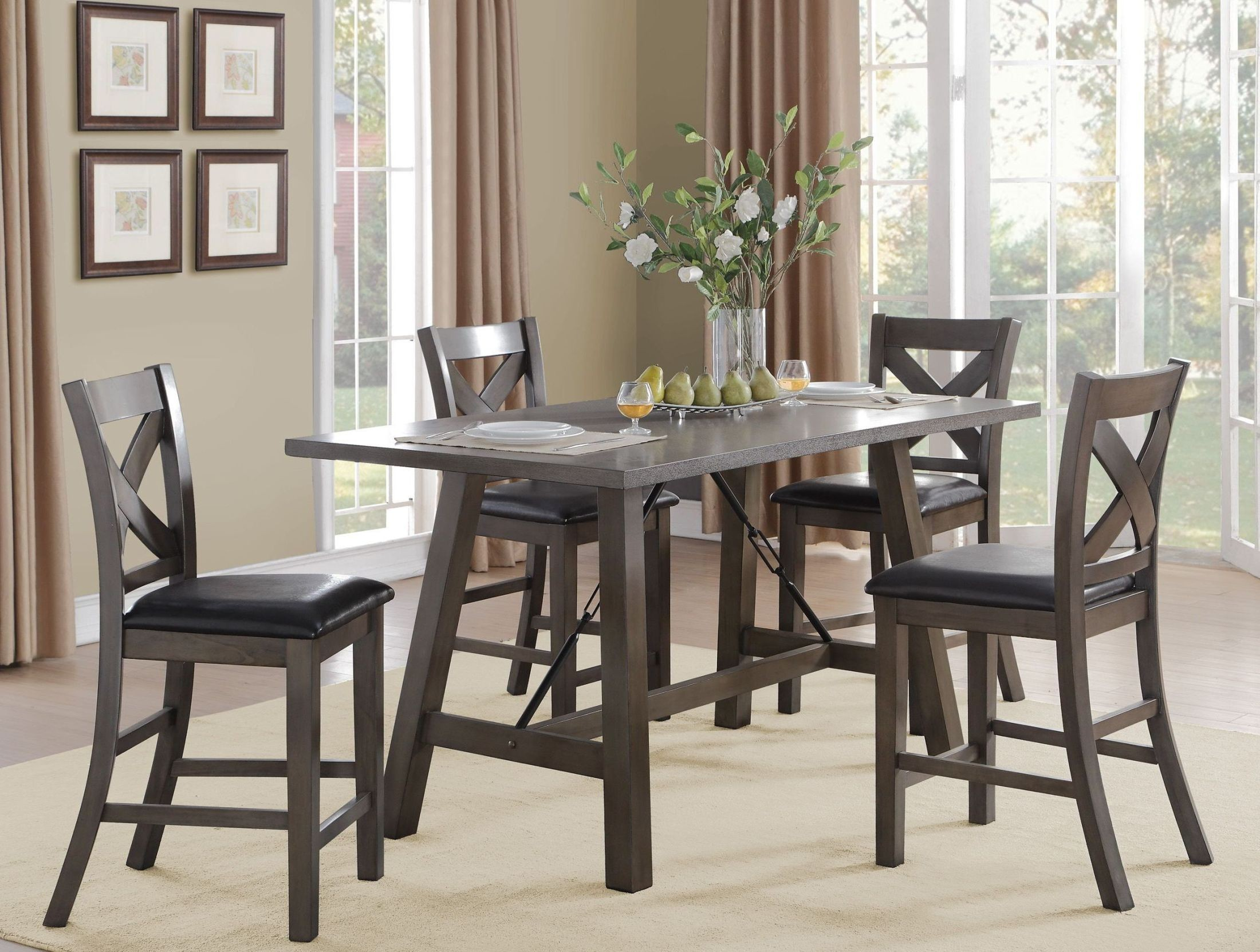 Seaford Black Counter Height Dining Room Set from