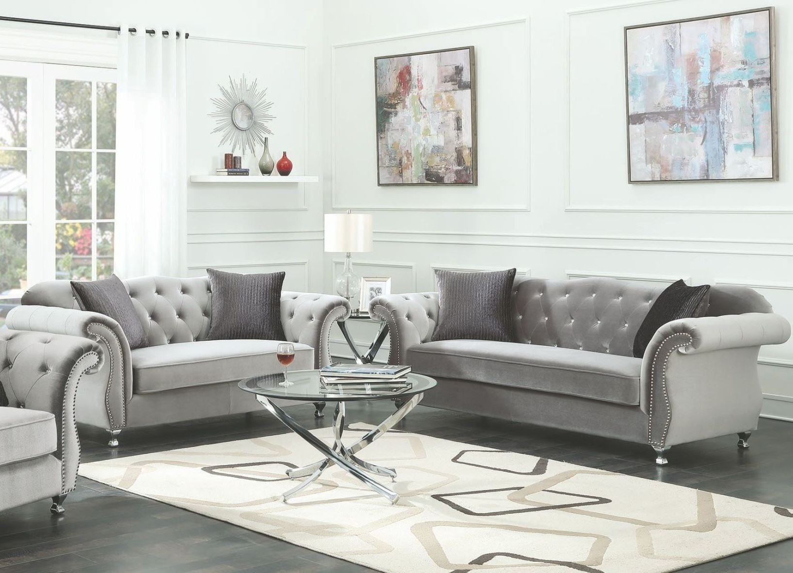 Frostine Silver Living Room Set from Coaster  Coleman
