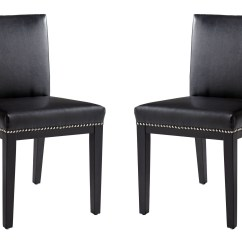 Black Leather Chair Dining Cover Qoo10 Vintage Set Of 2 From Sunpan