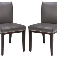 Set Of 2 Dining Chairs Grey Uk Vintage Leather Chair From Sunpan