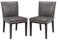 Vintage Leather Grey Dining Chair Set of 2 from Sunpan ...
