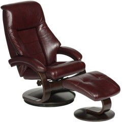 Reclining Chair With Ottoman Leather Tall Bar Chairs Oslo Merlot Burgundy Top Grain Swivel Recliner