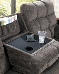 Acieona Slate Reclining Sofa with Drop Down Table from