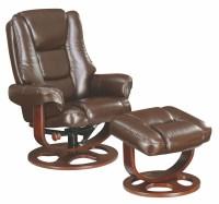 Brown Glider Recliner With Ottoman, 600086, Coaster Furniture