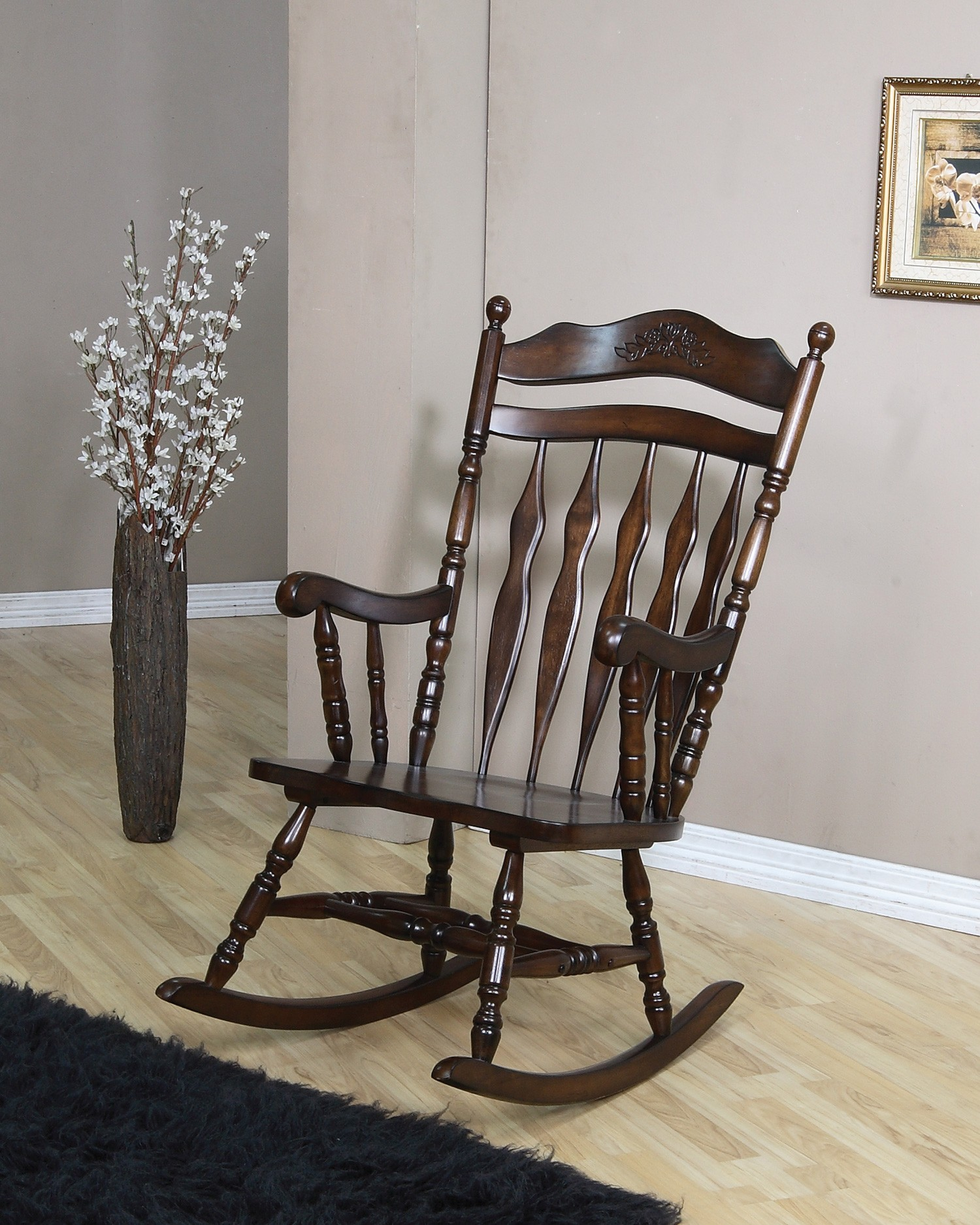 coleman rocking chair pool accessories walnut rocker 600187 from coaster furniture