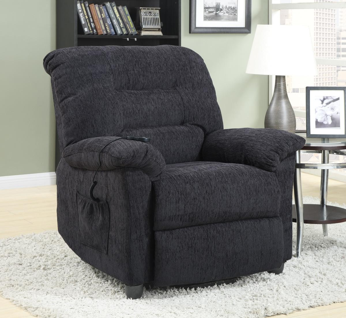 recliner chair covers grey kid size bean bag chairs square power 601015 from coaster