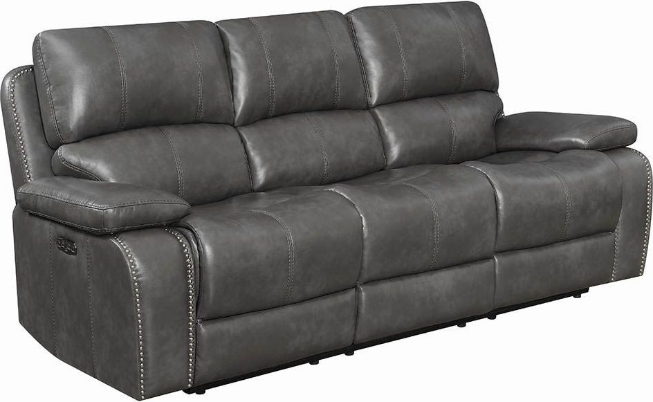 alessandro leather power motion sofa reviews white corner dfs ravenna charcoal reclining with headrest from 2913068