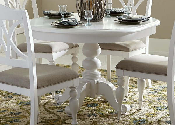 White Round Pedestal Dining Table