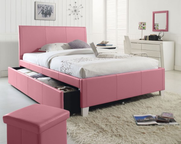 Fantasia Pink Twin Upholstered Trundle Bed Standard