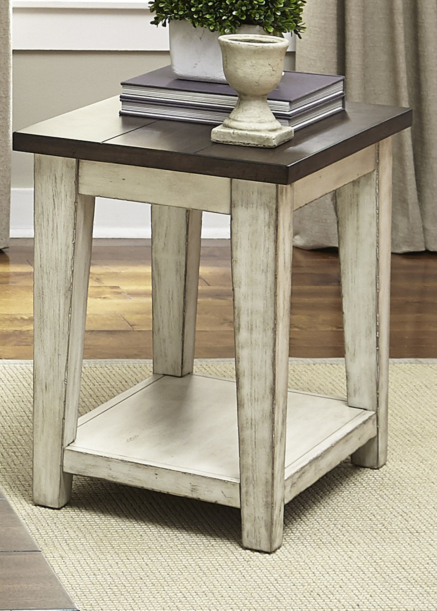 Lancaster Antique White and Brown Chair Side Table from Liberty 612OT1021  Coleman Furniture
